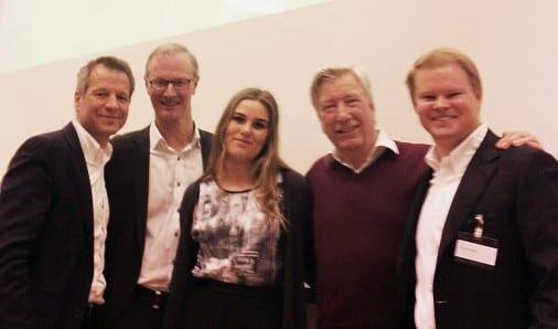 Fra venstre: Trond Hagerud, Per Nygaard, Sara Werenskiold, Sigbjørn Johnsen og Karl Erik Rimfeldt.
