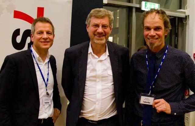 Redaktør og forfatter Magne Lerø, industridesigner og gründer Bård Eker bidro til å løfte blikket og se fremover. Her sammen med 7sterkes styreleder Trond Hagerud, som takket alle som har bidratt til industriforeningen gjennom nærmere ni år.